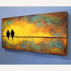 Original Sculpted Painting - Birds on a Wire - Ready to Ship review | buy, shop with friends, sale | Kaboodle