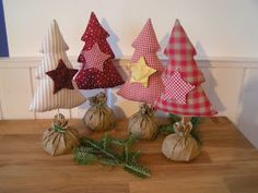 Fabric Fir Trees - bag filled with sand and then wrapped with fabric.  Image only.