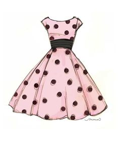 Fashion illustration of vintage pink dress with black polka dots and black waistband 8x10 or 5x7 by mollymattin on Etsy