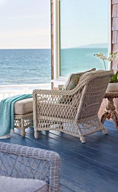 Our Hampton Seating Collection has a relaxed, southern attitude, intricately handwoven in weathered ivory resin wicker. | Frontgate: Live Beautifully Outdoors
