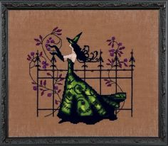 Gwen by Nora Corbett, From the Bewitching Pixies Series. Model: stitched on Ct. Milk Chocolate fabric with DMC floss, and Mill Hill Beads. Stitch Count: x Mill Hill Beads required: 16004 Fabric recommended: Milk Chocolate Aida DMC Floss required: 310 Cross Stitch Love, Cross Stitch Needles, Cross Stitch Fabric, Cross Stitch Charts, Cross Stitch Kits, Counted Cross Stitch Patterns, Cross Stitch Designs, Cross Stitching, Cross Stitch Embroidery