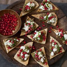 Crispy pitta chips topped with aubergine, pomegranate and mint, Red Magazine