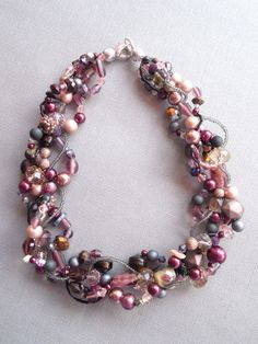 Multi strand necklace statement necklace purple by EvenTheStones