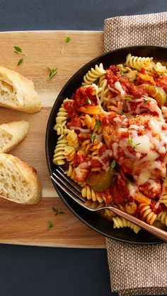 Bring the fantastic flavor of pizza to a pleasing pasta casserole! For another meal, use the leftover pasta sauce to top slices of French bread, then sprinkle with shredded mozzarella cheese and broil to melt.