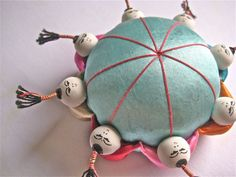 Vintage Pin Cushion Chinese Silk Little People