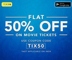 Book Any #Movie_Tickets Now at FLAT 50% #DISCOUNT!  Only via tixdo.com #MovieTicketsDiscount