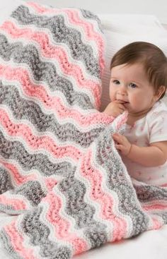 Baby Girl Chevron Blanket Knitting Pattern | Red Heart