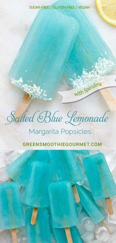 Salted Blue Lemonade Margarita Popsicles #vegan #popsicles #spirulina #bluefood #palatas