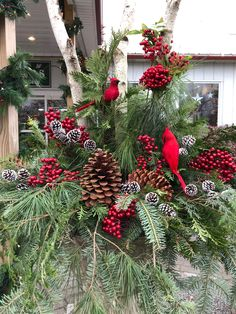 Christmas Urns, Christmas Planters, Christmas Front Doors, Outdoor Christmas Decorations, Christmas Holidays, Christmas Ideas, Christmas Wreaths, Holiday Decor, Christmas Traditions