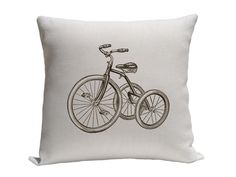Tricycle Pillow Cover, Decorative Pillows, Throw Pillows, Accent Pillows, Screenprint Pillow Covers, 16 x 16 Inches, brown and white pillow. $18.00 USD, via Etsy.