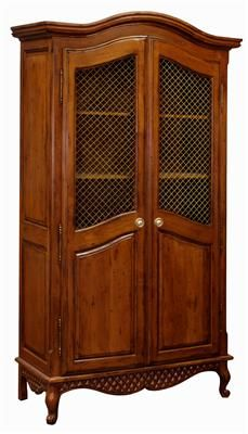 AFK's Grand Armoire with Wire Mesh Doors, shown in Chateau Finish.  Available with optional decorative applique moulding and in any of our AFK Finishes or hand-painted Motifs.  Contact our AFK Beverly Hills Store for information at (310) 657-6300.