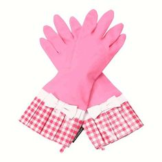 Gloveables Pink Fashion Gloves with Pink Gingham Cuff and White Bow! <3