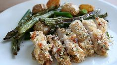 Crispy Bacon Breadcrumb Chicken and Roasted Smoky Green Beans and Potatoes