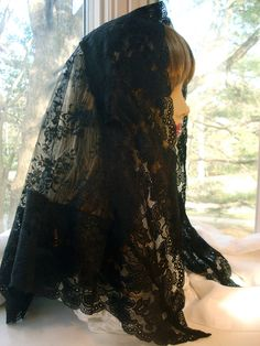 The Zita Veil.  A Black Lace Mantilla / Long Black Chapel Veil / Catholic Headcovering.