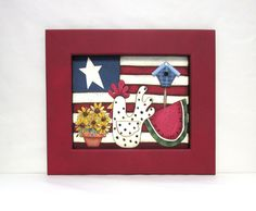 Patriotic Scene with Chicken, Sunflowers, Watermelon and Bird House,  Tole or Hand Painted on Fiberglass Black Screen, Reclaimed Wood Frame by barbsheartstrokes on Etsy