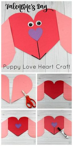 Valentine's Day Puppy Love Preschool Heart Craft #valentinesday #artsandcrafts #preschool
