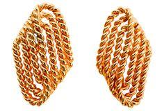 Goldtone Coiled Rope Earrings on OneKingsLane.com