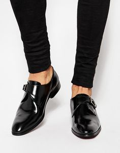 ASOS   ASOS Monk Shoes in Black Leather With Buckle at ASOS