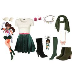 Casual cosplay of Sailor Jupiter (from Sailor Moon anime series)-- character inspired outfit