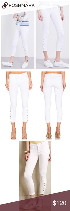 """➡J Brand White Suvi Mid-Rise Utility Cropped Jeans Military inspired jeans highlighted by tonal button up detailing at the hem. Outer seam detailing contours your figure. The pristine white wash brightens up any look and makes this the perfect pair for warm weather. Very faint imperfections as shown that should wash out. 94% cotton, 4% polyester, 2% elastane Approx. 7"""" rise; 24"""" inseam  🛍Shop your way: 💕Offers welcome. 💕Take 20% off bundles automatically. 💕 Make an offer on your bundle…"""