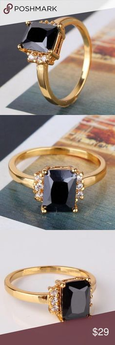 24k yellow gold filled ring Gem Type: black sapphire Gem Size:6mm*8mm Gem Quantity:7 Gem Cut:Radiant Brilliant Gem Color:black Metal Type:24k yellow gold filled Gram Weight:2.0 grams Jewelry Rings