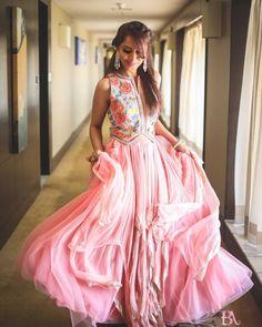 Strut in style on your haldi ceremony in this blush pink layered lehenga and beaded jacket choli ! Pink Bridal Lehenga, Floral Lehenga, Designer Bridal Lehenga, Pink Lehenga, Indian Lehenga, Indian Bridesmaid Dresses, Bridesmaid Outfit, Bridesmaids, Wedding Dresses