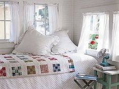Cottage Bedroom with Quilt...can almost feel the summer breeze