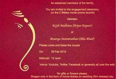 #BBCelebration Invitation of Engagement B/W Krish Malhotra & Ananya Swaminathan. You all invited With Family!!! Date : 28th February 2014. Time : 12 Noon Venue : YouTube  *Note: No Flowers, No Gifts Just Give Your Best Wishes to Couple And Don't Miss to Attend The Wedding Ceremony on 18th April 2014.