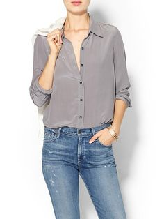 silk blouse + jeans