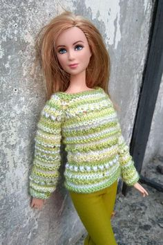 Barbie doll clothes. Hand-knitted free form green pullover