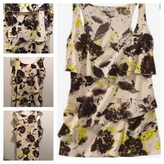 New Retro Boho Old Navy Yellow Floral Tiered Ruffle Tank Blouse XL