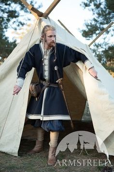 "20% DISCOUNT! Mens Woolen Coat ""Jarl Eric""; Embroidered Viking Kaftan; Viking…"