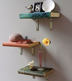 Reuse Old Books to Make Bookshelves via Real Simple, featured @totgreencrafts