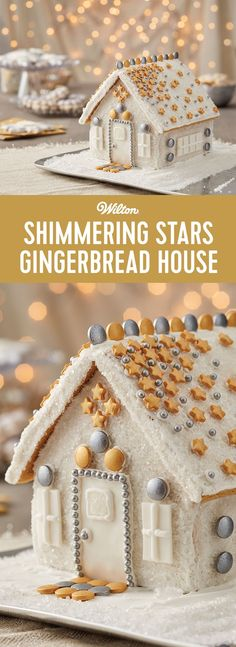 Silver and gold, shimmering stars and sparkle.this gingerbread house is covered in it! If you believe the more bling to the holidays, the better, this gingerbread house kit is for you. Gingerbread House Designs, Gingerbread House Parties, Christmas Gingerbread House, Christmas Treats, Gingerbread House Decorating Ideas, Gingerbread Houses, Xmas Food, Christmas Cooking, Biscotti