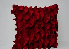This red satin ruffle pillow is so romantic, textured toss pillow, featuring fun, flirty ruffles, will add glamour to any room. The red throw pillow has a zip closure for a neat look. Pillow cover for