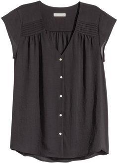 H&M - Short-sleeved Blouse - Black - Ladies