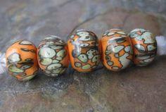Apricot Encased Lampwork Bead Set by BubbyMcGurkBeads on Etsy, $30.00