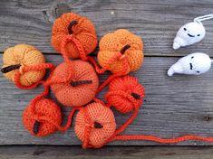 Handmade Pumpkin Garland Crocheted and Knitted Pumpkins Shades of Orange Halloween Decor Halloween Gift Home Decor Housewarming Gift