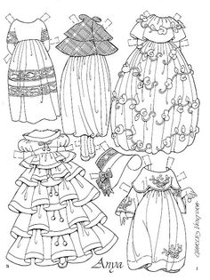 Paper doll~ Anya Imagines by Charles Ventura clothes page 2 To Color, Cut And Color, Paper Toys, Paper Crafts, Paper Dolls Printable, Dibujos Cute, Vintage Paper Dolls, Digi Stamps, Coloring Book Pages