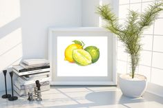 Impression d'Art citron, Lime, nourriture Art, Illustration, aquarelle, 5'' x 7'' par mintillustrations sur Etsy https://www.etsy.com/ca-fr/listing/483752836/impression-dart-citron-lime-nourriture