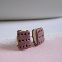 Cookie Stud Earrings Miniature Biscuit Studs by LittlePinkBox, $4.00