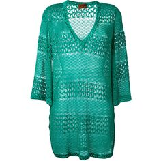 Missoni crochet beach dress ($490) ❤ liked on Polyvore featuring dresses, green, green crochet dress, blue green dress, rayon dress, blue dress and crochet dress