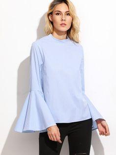 Blusa manga acampanada a rayas verticales - azul