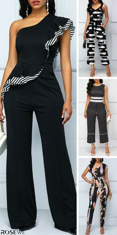 jumpsuits For Women Black Women Fashion, Latest Fashion For Women, Womens Fashion, Classy Outfits, Chic Outfits, Fashion Pants, Fashion Outfits, Designer Jumpsuits, Mode Chic
