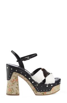 Jacquard Genuine Goat Fur Sandal (Women) by Prada on