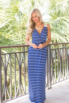 Life By The Sea Maxi Dress Royal Blue - The Pink Lily