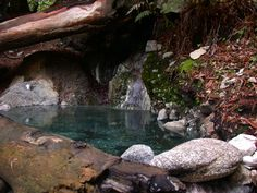 Sykes Hot Springs//The hot springs are about 1/3 mile downstream from the main Sykes camp. The springs are along the banks of the Big Sur river in an old growth redwood forest...
