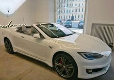 This might be the world's first open-top Tesla Model S...