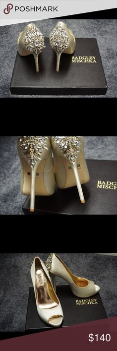 Badgley Mischka Studded Heels Beautiful Jeweled satin heels//perfect for a wedding or any nice event//excellent condition, only worn once for less than an hour///comes with extra heel tap, beads & box Badgley Mischka Shoes Heels