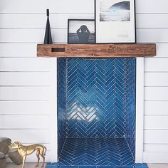 Design inspo: Cool fireplaces to keep you warm this winter. Dark blue herringbone tile in fireplace, stunning fireplace ideas, ways to make your fireplace a statement Tile Bedroom, Bedroom Fireplace, Fireplace Remodel, Fireplace Design, Tiled Fireplace, Fireplace Ideas, Fireplace Decorations, Fireplace Fronts, Wooden Fireplace